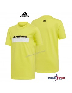 T-SHIRT BOYS ADIDAS DV1652 COTTON FLUORESCENT YELLOW YB ID LIN TEE